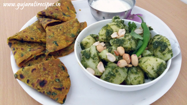 Pudina Green Aloo with Theplas
