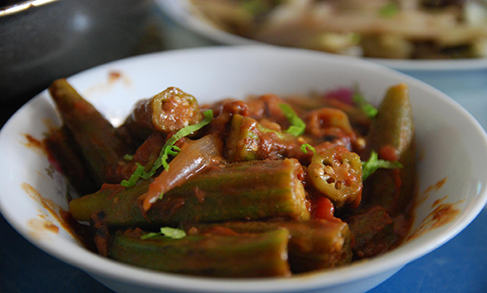 okra and tomatoes